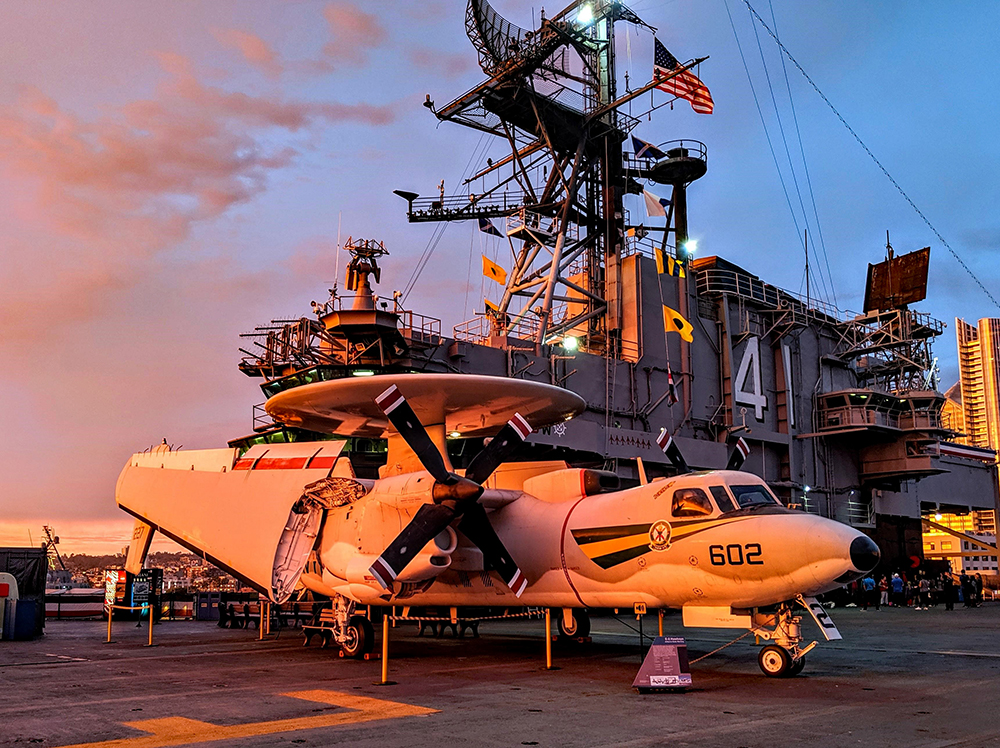 Sunrise over the deck of the USS Midway