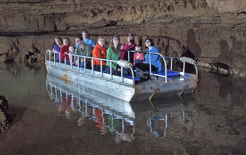 Underground boat ride in Indiana Caverns