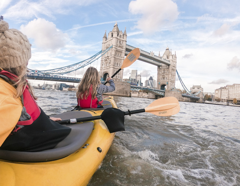 Kayaking on the Thames in London