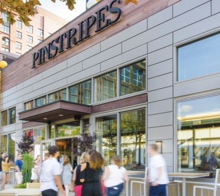 Pinstripes at Pike & Rose in Bethesda, Maryland