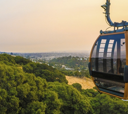 The Oakland Zoo's gondola ride offers visitors a view from above.