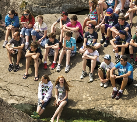Student group at Devil's Den