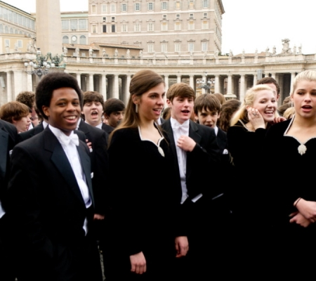 Student choir in St. Peter's Square in Rome