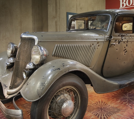 "Bonnie & Clyde's car, from the exhibition ""FBI: From Al Capone to Al Qaeda"""