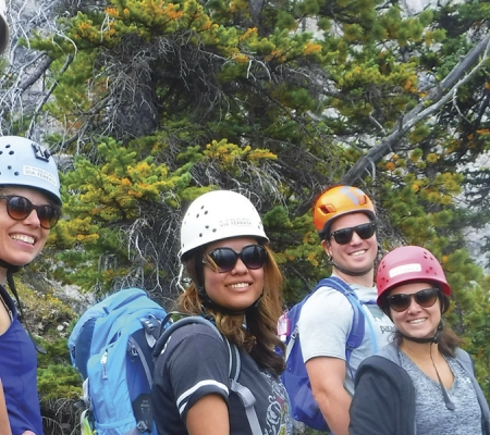 Group leaders can gather like-minded travelers—such as these trekkers at Mount Norquay in Banff, Alberta—for tour operator-led adventures.