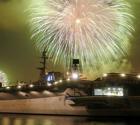 Fireworks over USS Midway Museum